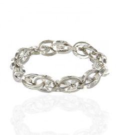 Polished Rhinestone Chain Stretch Bracelet in Silver-Tone