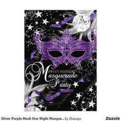 Silver Purple Mask Star Night Masquerade Sweet 16