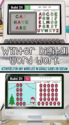 This digital word work center set includes winter-themed interactive word work activities for any word list with moveable letter pieces. Use them again and again with any spelling or high-frequency word list. Just click to type in your own word list! These fun activities are ideal for both distance learning and everyday classroom use. Perfect for remote learning!