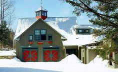 I LOVE the bright red doors on this barn.