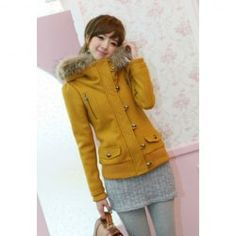 $24.49 Sweet Artificial Fur Collar Single Breasted Solid Color Long Sleeve Slimming Hooded Short Coat For Women