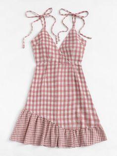 Knot Shoulder Ruffle Hem Checked Cami Dress [dress180622315] - €30.17 : cuteshopp.com Plaid Dress, Dress P, Plaid Fabric, Pink Fashion, Cami, Knots, Summer Dresses, Shoulder, Casual