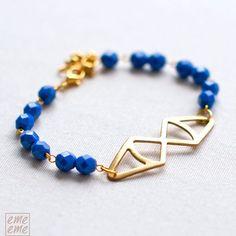 Triangles Bracelet with blue glass beads   Friendship by emeeme, $22.00