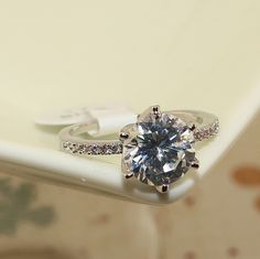 Charming Micro Pave Cubic Zirconia Platinum Plated Finger Ring, with AAA Zircon, Platinum
