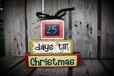 COUNTDOWNS chalkboard personalized wood block set. . . Christmas, vacation, birthday, Halloween, Disneyland, grandma primitive via Etsy