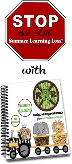 1st Grade Summer Learning RRR    Stop the 30% Summer Learning Loss with a fun, systematic review of reading, writing, and arithmatic.