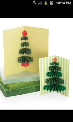 Tarjeta de árbol de Navidad 3 D en Origami - Christmas Origami 3 D Tree Card