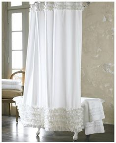 Ann Gish ruffled shower curtain