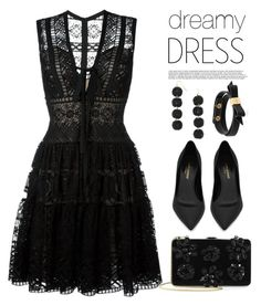 """Dreamy dress: all black edition!"" by anja-jovanovich ❤ liked on Polyvore featuring Elie Saab, Yves Saint Laurent, BaubleBar, Kate Spade, Prada, allblack and dreamydresses"