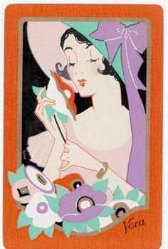 Playing Cards Swap Cards Stunning Vintage Lady Deco US Named Vera EXC Cond | eBay