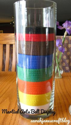 Martial Arts Belt Display Vase A really cool idea for an easy DIY belt display for my son's karate belts. This is an idea that even my non-crafty self can handle!
