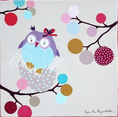 Camille Chincholle illustratrice : tableau Owl Wallpaper, Baby Painting, Baby Room Art, Pretty Birds, Plexus Products, Home Textile, Illustration Art, Illustrations, Paint Colors