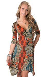 Panhandle Slim® Women's Mutlicolor Paisley Print 3/4 Sleeve Dress | Cavender's