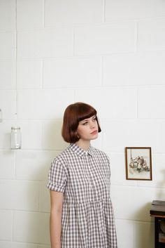 Check Shirt Dress in Grey Gingham
