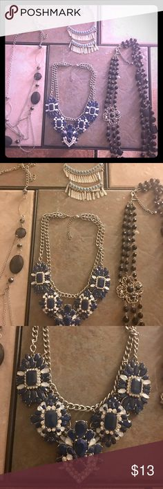 4 Necklaces Bundle 4 necklaces for 1 low price. Beautiful statements necklaces. Priced to sell. Jewelry Necklaces