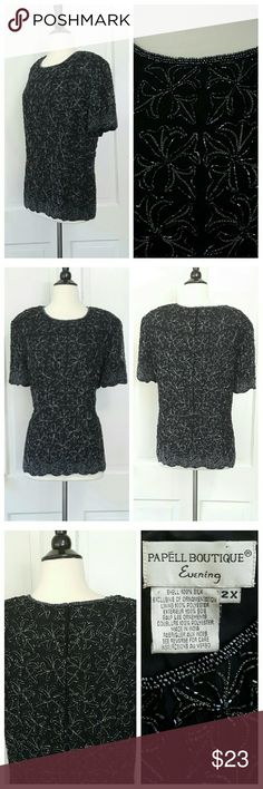 Papell Boutique Evening Beaded Short Sleeve Top Papell Boutique Evening top with short sleeves and padded shoulders, (pads can be clipped out with scissors). Zips in back. Adrianna Papell Tops