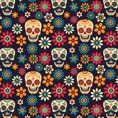 Seamless vector pattern with sugar skulls and flowers on dark. Vector Pattern, Pattern Art, Dark Backgrounds, Wallpaper Backgrounds, Mexico Day Of The Dead, Mexico Art, Skull Illustration, Skull Wallpaper, Painted Pots