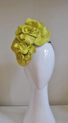 Acid yellow leather flowers. 4 handmade leather flowers side set for classic transeasonal millinery from www.jillandjackmillinery.com