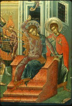 The scene of the martyrdom of Saint Demetrios Byzantine Icons, Byzantine Art, Christian Church, Christian Art, Saints And Soldiers, Famous Freemasons, Greek Icons, Orthodox Christianity, Religious Icons