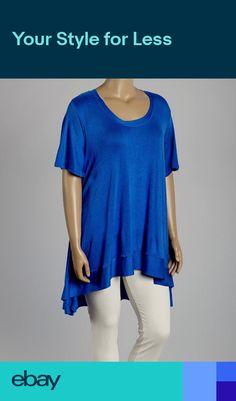 dd74e7ae0d017 New Womens Plus Size Royal Blue Short Sleeve Hi Low Top-Tunic Sizes 4X 5X 6X