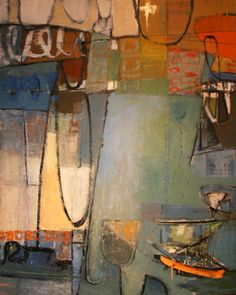 Same Boat, Different Day, 60 x 48, Leslie Allen at Donna Seager Gallery