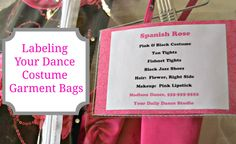 Labeling Dance Costume Garment Bags (great for competition and recital/shows)
