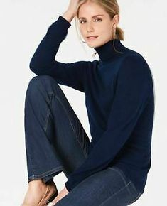 Charter Club Pure Cashmere Turtleneck Sweater in Regular & Petite Sizes, Created for Macy's Size: M Color: Navy Cashmere Turtleneck, Cashmere Sweaters, Sweater Weather, Petite Sizes, Sweaters For Women, Turtle Neck, Pure Products, Club, Model