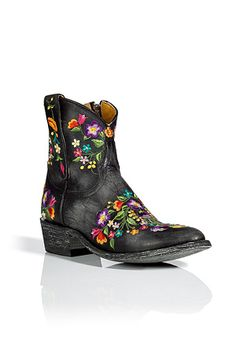 STYLEBOP.com | Black Flower Embroidered Ankle Boots by MEXICANA | the latest trends from the capitals of the world