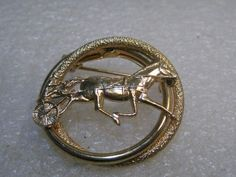 """Vintage Horse and Sulky Brooch, Racer, Double Circle, Gold Tone, 1.25"""" #Unbranded"""
