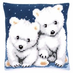 Polar Bears Vervaco Chunky Cross Stitch Cushion Kit - for sale online Cross Stitch Cushion, Cross Stitch Art, Beaded Cross Stitch, Cross Stitch Animals, Cross Stitch Designs, Cross Stitching, Cross Stitch Embroidery, Cross Stitch Patterns, Pillow Embroidery