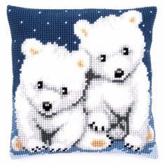 Polar Bears Vervaco Chunky Cross Stitch Cushion Kit - for sale online Beaded Cross Stitch, Cross Stitch Kits, Cross Stitch Charts, Cross Stitch Designs, Cross Stitch Embroidery, Cross Stitch Patterns, Cross Stitch Cushion, Needlepoint Pillows, Cross Stitch Animals