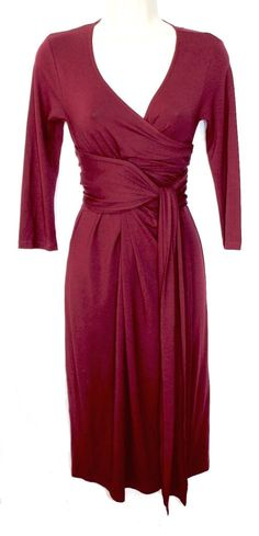 d3b0383640006 ISABELLA OLIVER Maternity Dark Red Burgundy Faux Wrap Surplice V Neck Dress  1… Maternity Style