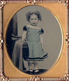 ca. 1860, [daguerreotype portrait of an adorable young girl in a hand tinted fancy party dress], G. Brown  via Charles Schwartz Ltd., Photography