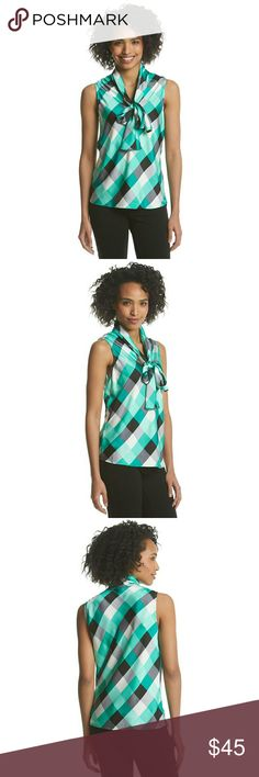 New! Nine West Plaid Tie-neck Work Top Blouse NWT Sophisticated and stylish, this luxe cami from Nine West features a tie at the neckline. Pair with your favorite blazer and pants or a skirt for a professional and polished look.     Color: Teal multi  High neckline  Sleeveless  Tie detail at neckline  Allover checkered pattern  Polyester  Retails for $59 Nine West Tops