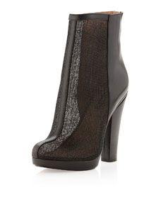 Maddy Raffia/Leather Short Bootie, Black
