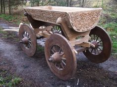 Rear View. The cart has splendid carvings with pagan motifs. It is the oldest known vessel with wheels in Norway.