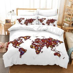 3D White World Map Comfortable Bedding Set Bedroom Decor