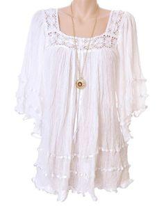 d8282e0f3e7 El Angel White Crochet Details sheer Gauze cotton Mexican Angel wings Boho  Tunic Mini Dress Crepes