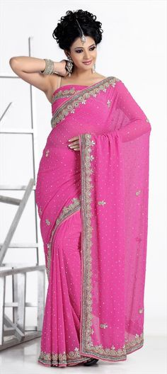 110204, Party Wear Sarees, Embroidered Sarees, Faux Georgette, Stone, Border, Cut Dana, Pink and Majenta Color Family