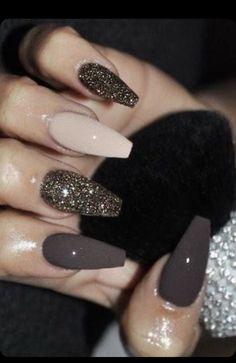 Fall Acrylic Nails, Acrylic Nail Designs, Nail Art Designs, Nails Design, Brown Nail Polish, Brown Nails, Gel Polish, Brown Nail Art, Black Nails