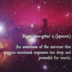 Yugen /yoo-gehn/ n (Japanese) ~ An awareness of the universe that triggers emotional responses too deep & powerful for words