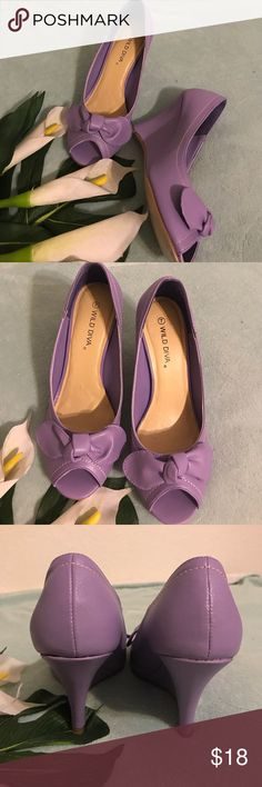 """REEUCEDEUC WILD DIVA Lilac Peep toe Wedge I worn once this Lilac peep toe Wedge. There's a minimal signs of wear on the bottom as shown in the photo other than that it's a great condition. Looks like brand new! Heel 3 1/2"""" high. Wild Diva Shoes Wedges"""