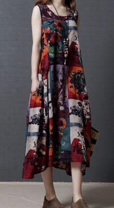 Women loose plus size cotton linen dress flower ethic Bohemian skirt casual #Unbranded #dress #Casual