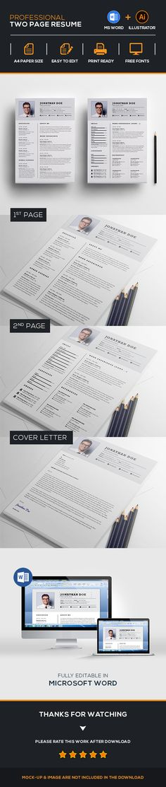 Resume \/ CV Curriculum professionale, Parole e Curriculum vitae - two page resume