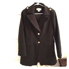 "Brown Michael Kors pea coat Single-breasted brown Michael Kors pea coat, with brass buttons. Two pockets. Barely worn and in ""like new"" condition! Michael Kors Jackets & Coats Pea Coats"