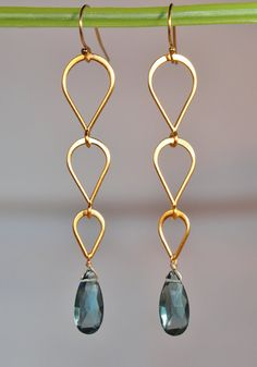 London Blue Topaz Faceted Drop Tiered Gold Chandelier Earrings