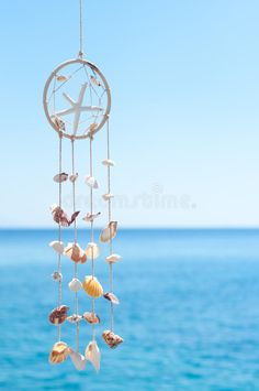Image of blue, style - 28452840 Sea shell decoration stock photo. Image of blue, style - 28452840 Seashell Art, Seashell Crafts, Seashell Wind Chimes, Seashell Mobile, Starfish, Sea Crafts, Crafts To Make, Los Dreamcatchers, Mundo Hippie