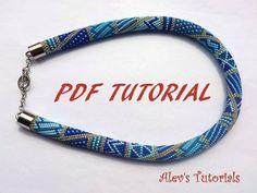 Blue Lines - Crochet Bead Necklace Pattern - Crochet Bead Necklace Tutorial - Necklace Tutorial