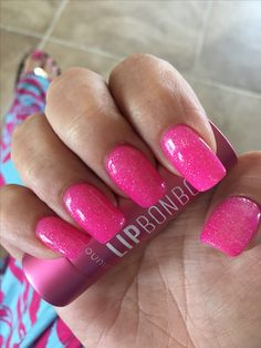 ANC powder gel manicure with sparkle gel on top!  #ANC #nails #pink #sparkles #nailideas