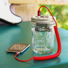 Let's face it: the speakers on your phone & laptop aren't loud enough. So grab this KIT & build a Mason Jar Speaker to play tunes from your smartphone & more. BUT WAIT: it's also an electric guitar amplifier! Plug in & bust out those wicked solos. Great first project, you'll have music after 21 solder joints & some simple assembly. Impress your friends with a speaker you built with your own hands!